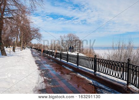 Winter Park on the embankment of the Volga River in Ulyanovsk (Simbirsk). Russia, Ulyanovsk. February 29, 2016