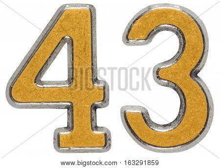 Metal Numeral 43, Forty-three, Isolated On White Background