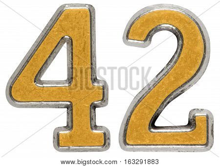 Metal Numeral 42, Forty-two, Isolated On White Background