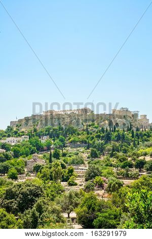 Aerial View of famous Greek temple against clear blue sky Acropolis of Athens in Greece