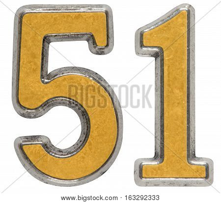 Metal Numeral 51, Fifty-one, Isolated On White Background