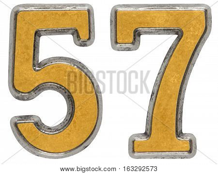Metal Numeral 57, Fifty-seven, Isolated On White Background