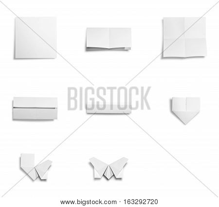 Transfer concept : The process of origami from paper transfer to butterfly isolated on white background