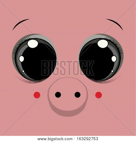 Cover design with the face of a pig with big eyes.