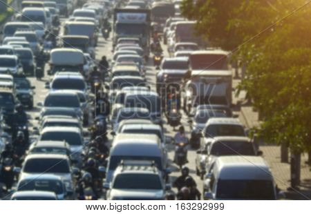 Blurred Traffic Jam In Bangkok Road