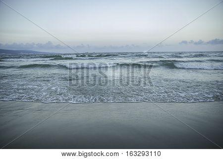 Evening sea, calm, marine whitecaps, horizon, beach, sand, peace