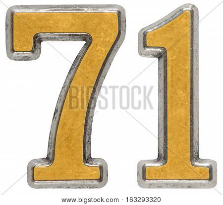 Metal numeral 71 seventy-one isolated on white background