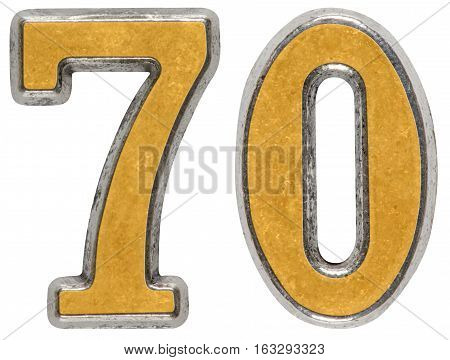 Metal Numeral 70, Seventy, Seven, Isolated On White Background