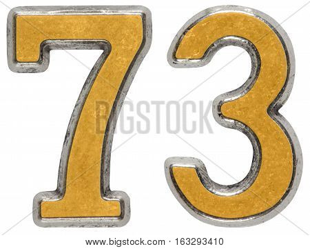 Metal numeral 73 seventy-three isolated on white background poster
