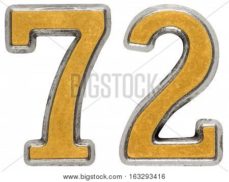 Metal numeral 72 seventy-two isolated on white background