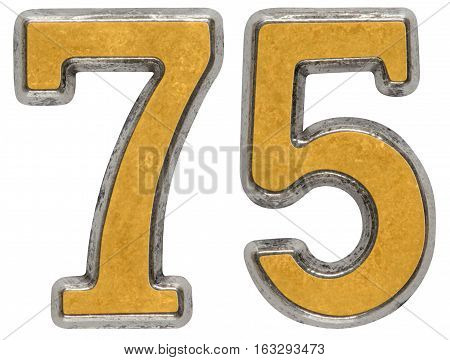 Metal numeral 75 seventy-five isolated on white background