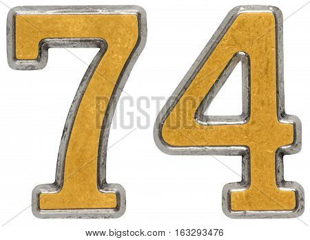 Metal numeral 74 seventy-four isolated on white background poster