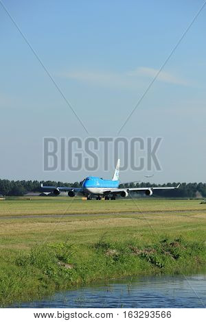 Amsterdam the Netherlands - August 18th 2016: PH-BFD KLM Royal Dutch Airlines Boeing 747-406(M) taking off from Polderbaan Runway Amsterdam Airport Schiphol