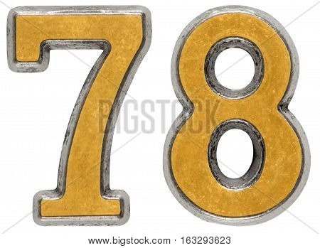 Metal numeral 78 seventy-eight isolated on white background