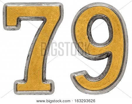 Metal numeral 79 seventy-nine isolated on white background