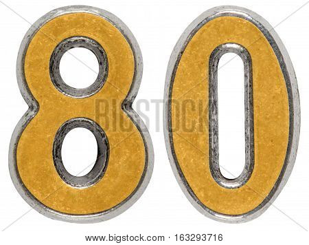 Metal numeral 80 eighty isolated on white background