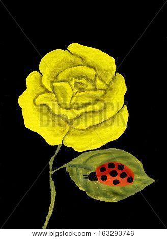 One big yellow rose on black background with ladybird oil painting.