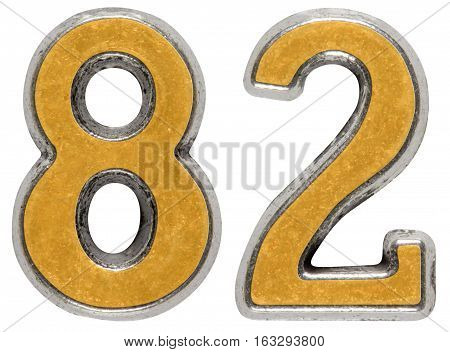 Metal numeral 82 eighty-two isolated on white background