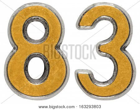 Metal numeral 83 eighty-three isolated on white background