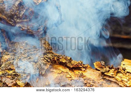 Flames and smoke from burning wood firewood and smoke for warm