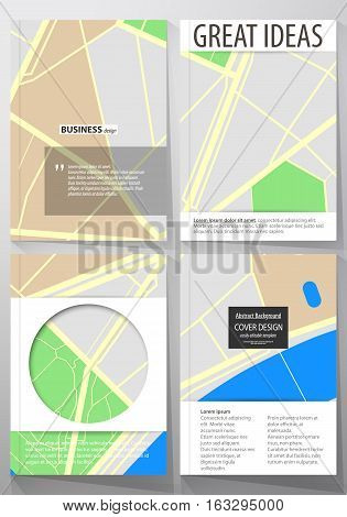 Business templates for brochure, magazine, flyer, booklet or annual report. Cover design template, easy editable blank, abstract flat layout in A4 size. City map with streets. Flat design template for tourism businesses, abstract vector illustration.