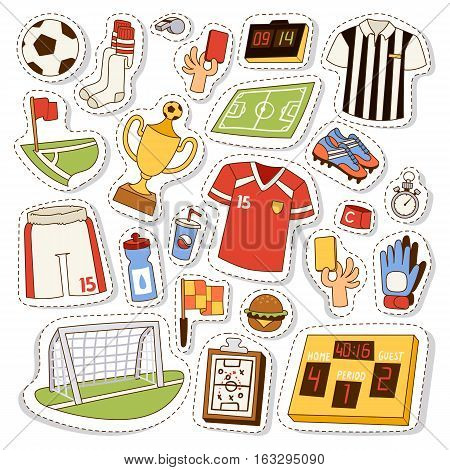 Soccer icons stadium and cloth vector illustration. Football sport soccer icons championship referee tournament. Corner competition team game with ball strategy.