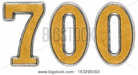 Metal numeral 700 seven hundred isolated on white background