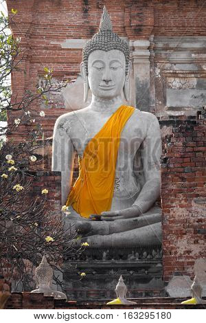 Old big buddha image in Wat Yai Chaimongkol temple, Ayutthaya Thailand