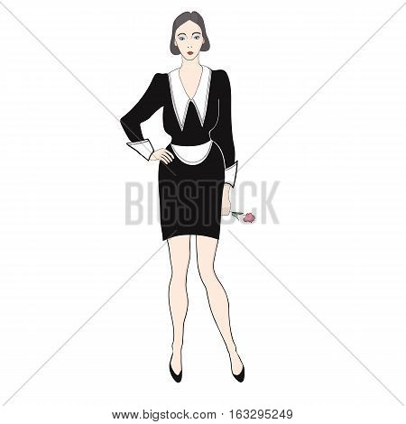 She maid in a black dress and a white apron over a white background