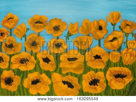 Many orange poppies on blue sky, oil painting.