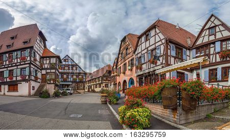 Market Square with historical houses in Dambach la Ville Alsace France