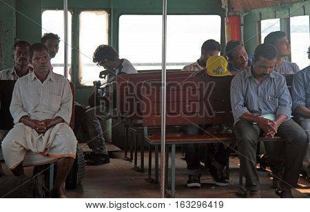People Are Riding In Ferry By Sea Nearly Kochi City, India