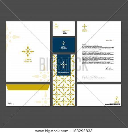 Template design corporate identity branding company. Set - business card brochure letter envelope poster flyer for a hotel resort spa restaurant classic style logo premium