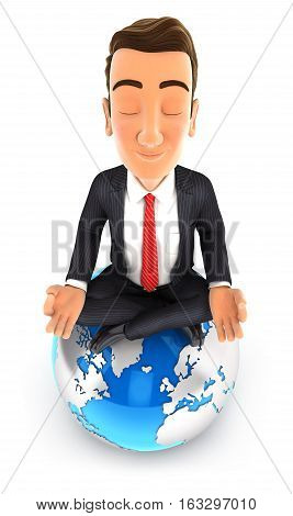 3d businessman doing yoga on top of the earth illustration with isolated white background