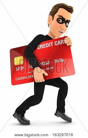 3d thief with a stolen credit card illustration with isolated white background