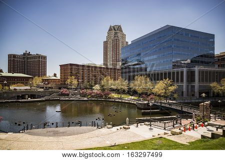 Providence Rhode Island. City skyline in New England region of the United States.