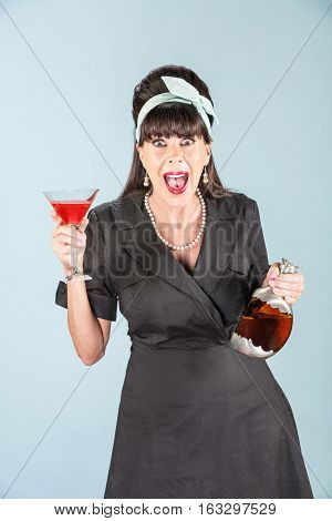 Yelling Woman In Black Dress With Cosmopolitan