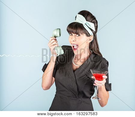 Happy Retro Woman In Black Dress With Cosmopolitan And Phone Receiver