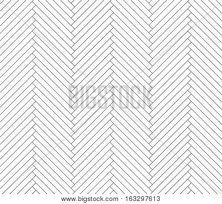 Black and white vector simple wooden floor, herringbone parquet pattern. Repeating tile in clipping mask