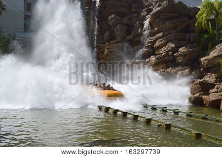 Universal Studios Resort Orlando Florida USA - October 24 2016: Jurassic Park River Adventure in the Jurassic Park area of Universals Island of Adventure
