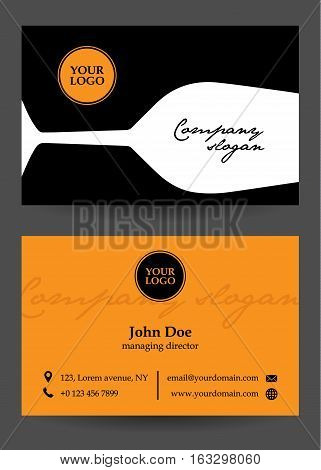 vector orange, black and white business card with glass