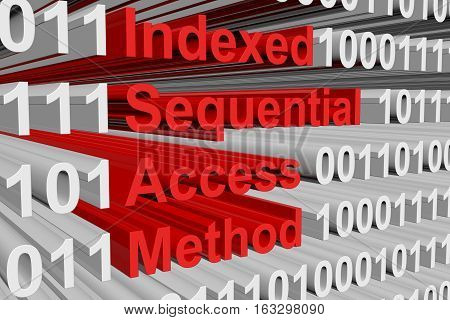 Indexed Sequential Access Method in the form binary code 3D illustration