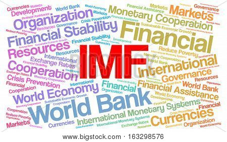 IMF word cloud concept with a white background