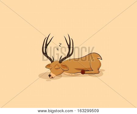 Vector Stock Illustration isolated emoji character cartoon deer sleeps on the stomach sticker emoticon for site, info graphics, video, animation, websites, e-mails, newsletters, reports, comic