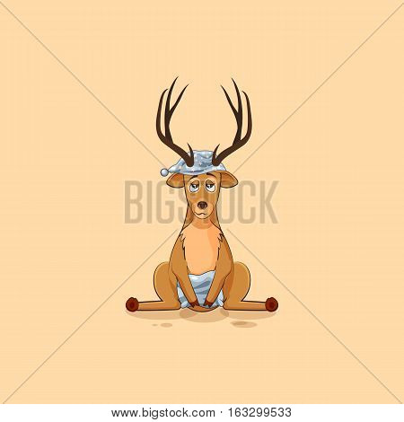Vector Stock Illustration isolated emoji character cartoon sleepy deer in nightcap with pillow sticker emoticon for site, info graphic, video, animation, website, mail, newsletters, reports