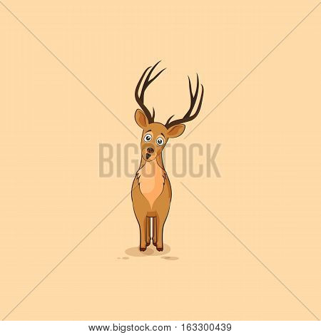 Vector Stock Illustration isolated emoji character cartoon deer surprised with big eyes sticker emoticon for site, info graphics, video, animation, websites, mail, newsletters, reports, comic
