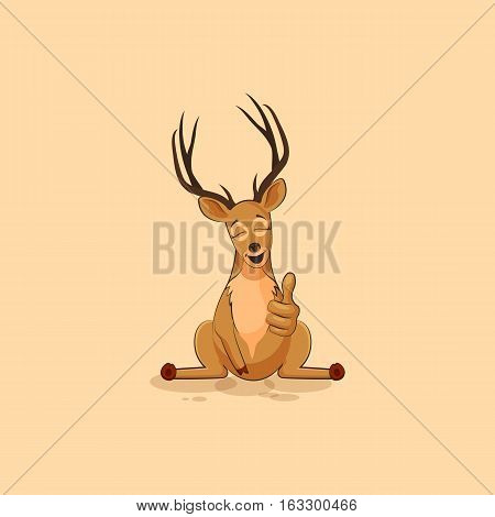 Vector Stock Illustration isolated emoji character cartoon deer approves with thumb up sticker emoticon for site, info graphics, video, animation, websites, mails, newsletters, reports, comics