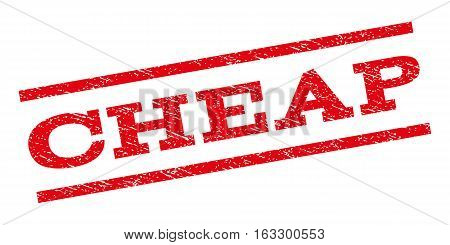 Cheap watermark stamp. Text caption between parallel lines with grunge design style. Rubber seal stamp with unclean texture. Vector red color ink imprint on a white background.
