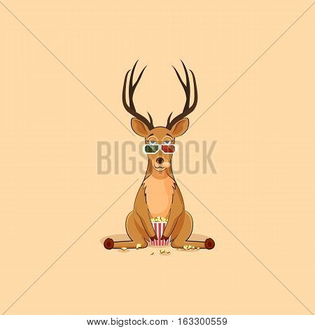 Vector Stock Illustration emoji character cartoon deer chewing popcorn, watching movie 3D glasses sticker emoticon for site, info graphic, video, animation, website, mail, newsletter, report