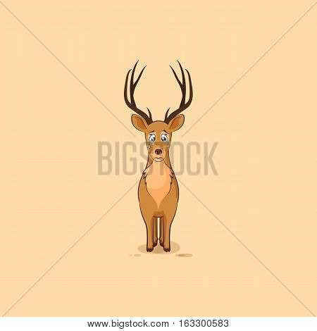 Vector Stock Illustration isolated emoji character cartoon sad and frustrated deer crying, tears sticker emoticon for site, info graphic, video, animation, website, mail, newsletters, report